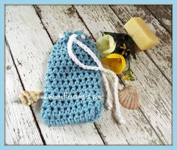 Blue Crochet Soap Saver Bag Lemongrass Lavender Soap Handmade Coastal  #Coastal