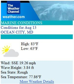 Ocean City Maryland Weather Forecast for Wednesday, August 13th 2014 - Beautiful day for the Surfer's Healing Event! #ocmd #surfershealing