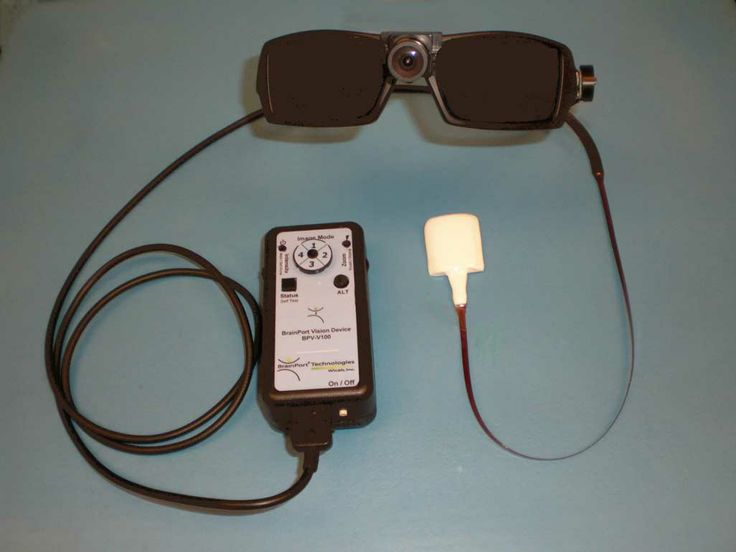 BrainPort, a device developed by the neuroscientists helps users 'see' without using their eyes. Using this device, visual data is collected through a small digital video camera housed in the centre of a pair of sunglasses. From there, the data is transmitted to a handheld base unit about the size of a cell phone. The key to the success of the device lies in its utilization of the tongue, which seems to be an ideal organ for sensing electrical current, as opposed to the surfaces of finger