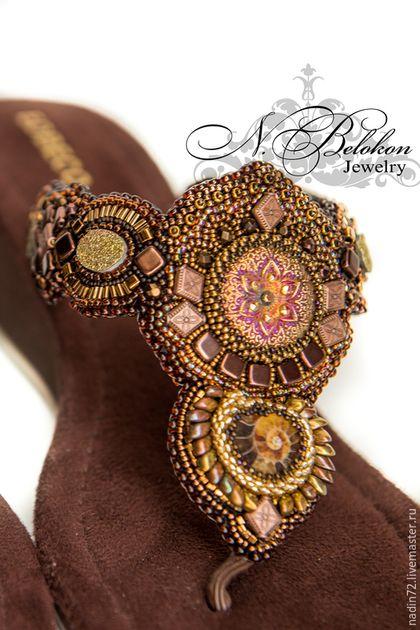 Купить Вышивка для босоножек - Вышивка бисером, босоножки, летняя обувь, коричневый, декор обуви