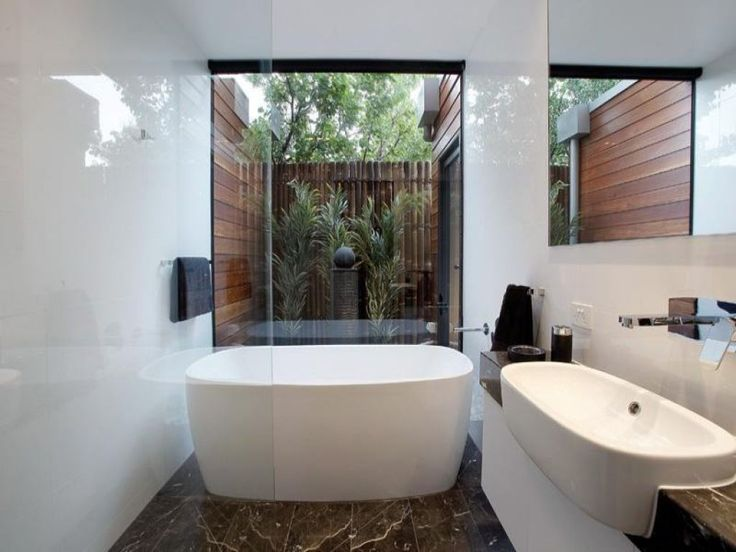 Gallery For Website Narrow Bathroom With Vessel Sink And Freestanding Bathtub