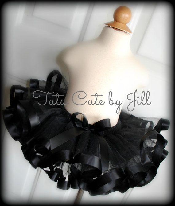 Sewn Black Tutu With Black Satin Ribbon Trim. Halloween Tutu, Black Cat Tutu Costume. By Tutu Cute By Jill