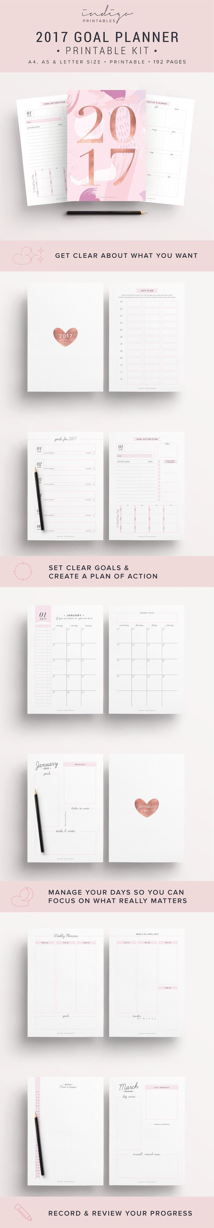 2017 Planner, Goal Planner, Monthly Planner 2017, Weekly Planner 2017, Success Planner, 2017 Inserts, 2017 Printable Planner, 2017 Agenda || 2017 Planner, 192 Printable Pages | Created by #IndigoPrintables Más