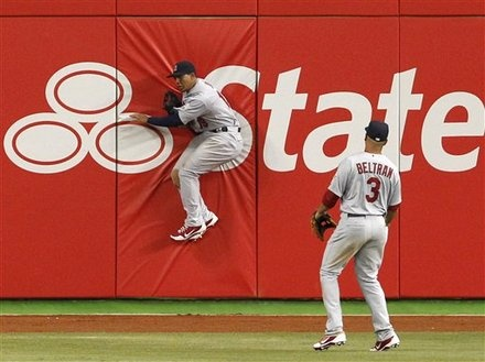 Jon Jay with an excellent catch during season opener.  4-4-12
