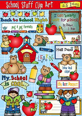 School stuff clipart for your classroom created by DJ Inkers