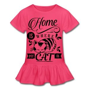 Home is where my cat is - Girl's Ruffle T-Shirt