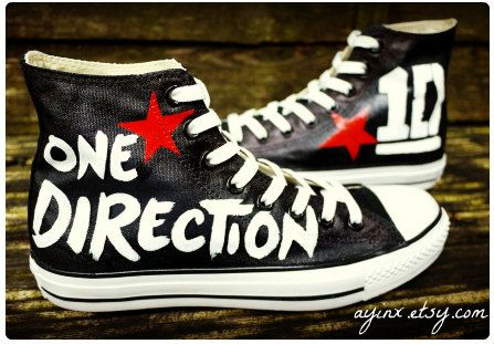 Custom Painted Fan art on Hi tops - One Direction. $135.00, via Etsy. She can also add lyrics! I wish these were cheaper D:
