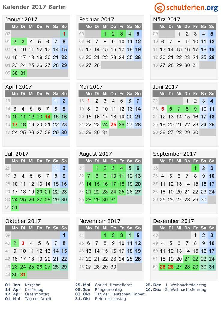 Kalender 2017 mit Ferien und Feiertagen Berlin