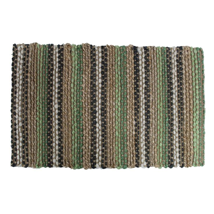 Colours Green Stripe Jute Door Mat (L)750mm (W)450mm | Departments | DIY at B&Q