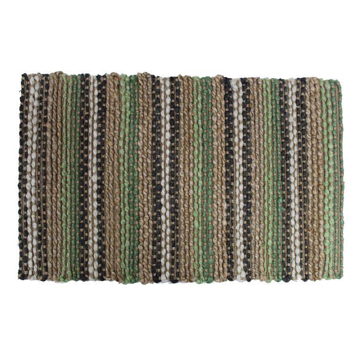 Colours Green Stripe Jute Door Mat (L)750mm (W)450mm | Departments | DIY at B&Q