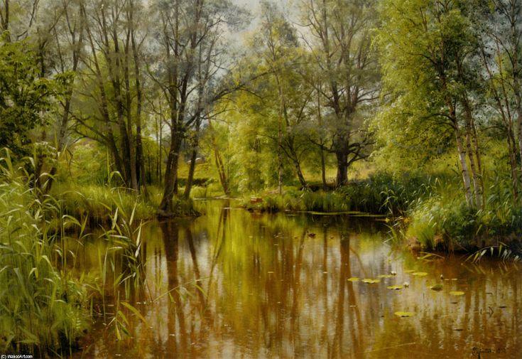 Alandskab I Solskin En Forarsdag, Oil by Peder Mork Monsted (1859-1941, Denmark)