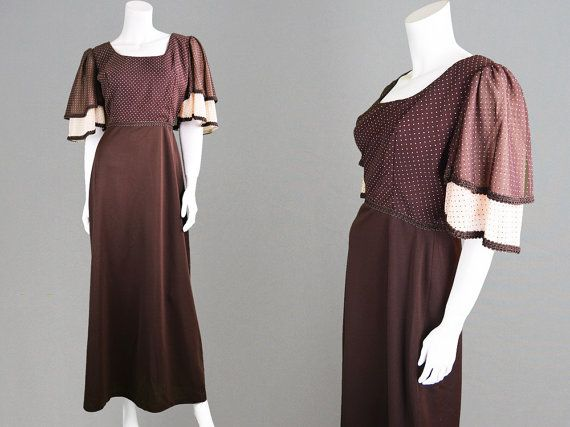 Vintage 70s Chocolate Brown Maxi Dress Polka Dot by ZeusVintage