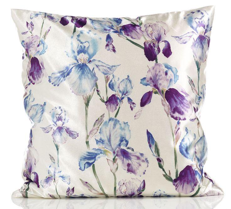 Purple Blue & Cream Iris Floral 18 inch Satin Cushion Cover RRP £4