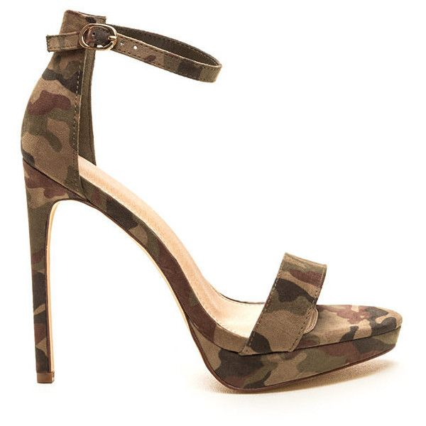 GREEN Socialite Life Strappy Camo Heels ($24) ❤ liked on Polyvore featuring shoes, sandals, green, strappy high heel sandals, camo sandals, high heeled footwear, wide sandals and green sandals