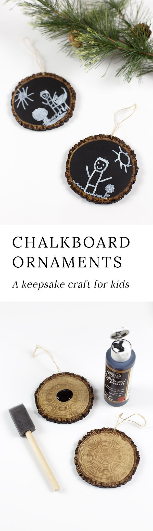 Easy Keepsake Chalkboard Ornaments, guaranteed to make your heart swoon every Christmas. An Christmas craft for kids to make. #christmas #ornaments via @https://www.pinterest.com/fireflymudpie/