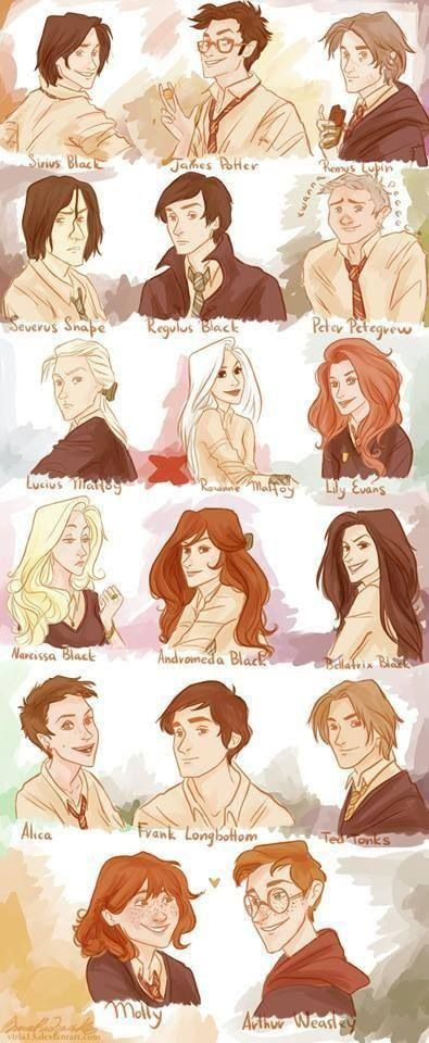 Harry Potter drawings. Except Ted Tonks wouldn't be on here, cause he's a muggle.