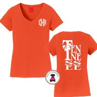 TENNESSEE - Game Day Monogrammed Ladies' V Neck Perfect Tee - FREE SHIP