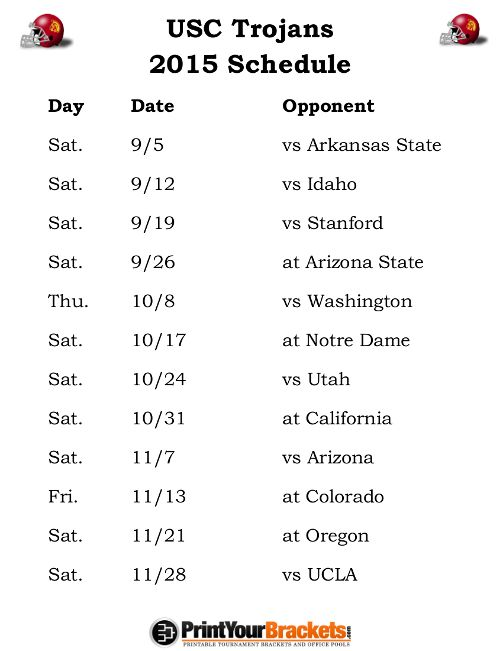 Printable USC Trojans Football Schedule 2015
