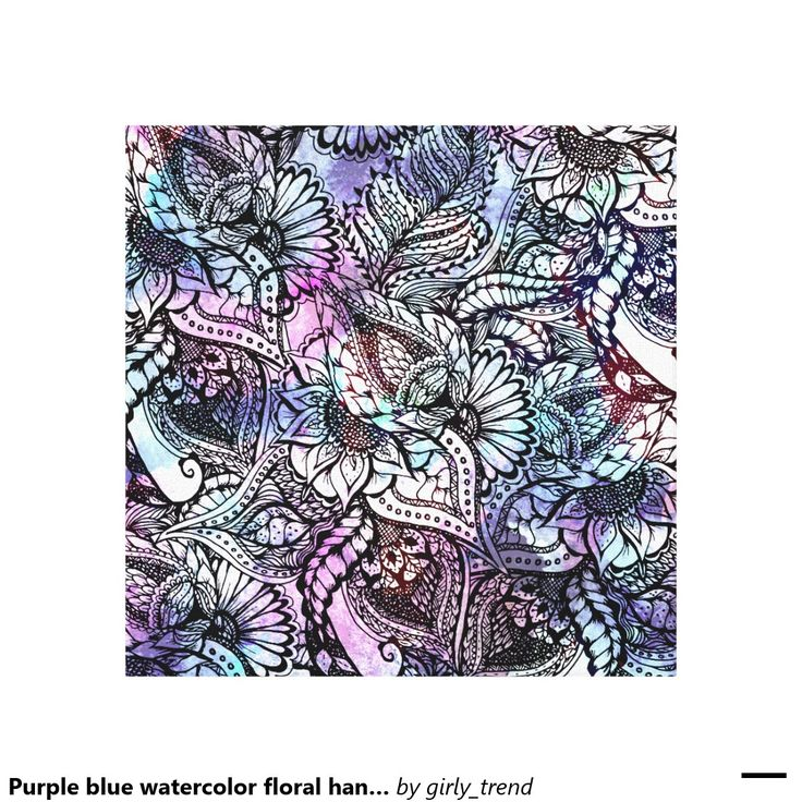 Purple blue watercolor floral hand drawn pattern canvas print