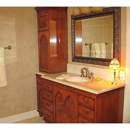 Classic Fincher Veneered Bathroom Sink Base With Tower Cabinet Timeless
