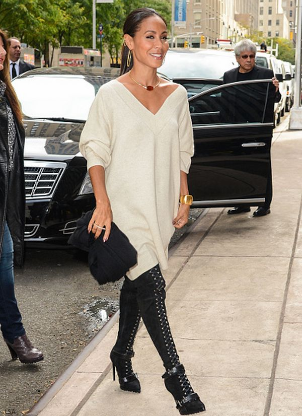 Jada Pinkett Smith was spotted at SiriusXM Studios sporting a sweater dress and statement lace up boots. Werk!