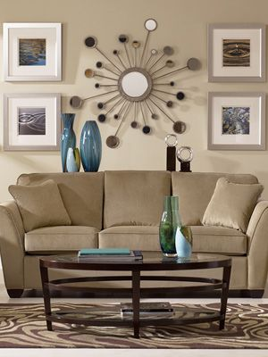Neutral Living Rooms - Decorating with Neutrals - Good Housekeeping-Starburst Wall Deco is just right for the Retro 50's look