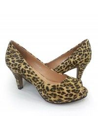 Wildcat - Womens leopard print peeptoe mid heels  $99.00  #shoeenvy #shoes #fashion #instalove #pretty #ethical #glamorous