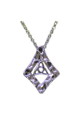 Modern Celtic Knot Pendant in a diamond shape in polished silver pewter. This modern take on a traditional motif makes an eye-catching, easy to wear shape.