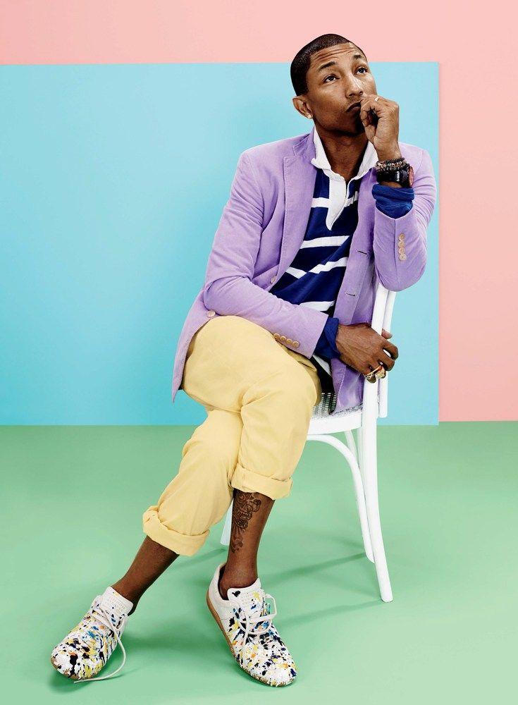 Couleur pastel, mauve, jaune, rayures et pois mélangés, style vestimentaire créatif, Pharrell Williams