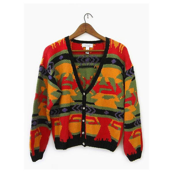vintage 90s tribal cardigan, colorful slouchy fit sweater, size s m ($32) ❤ liked on Polyvore
