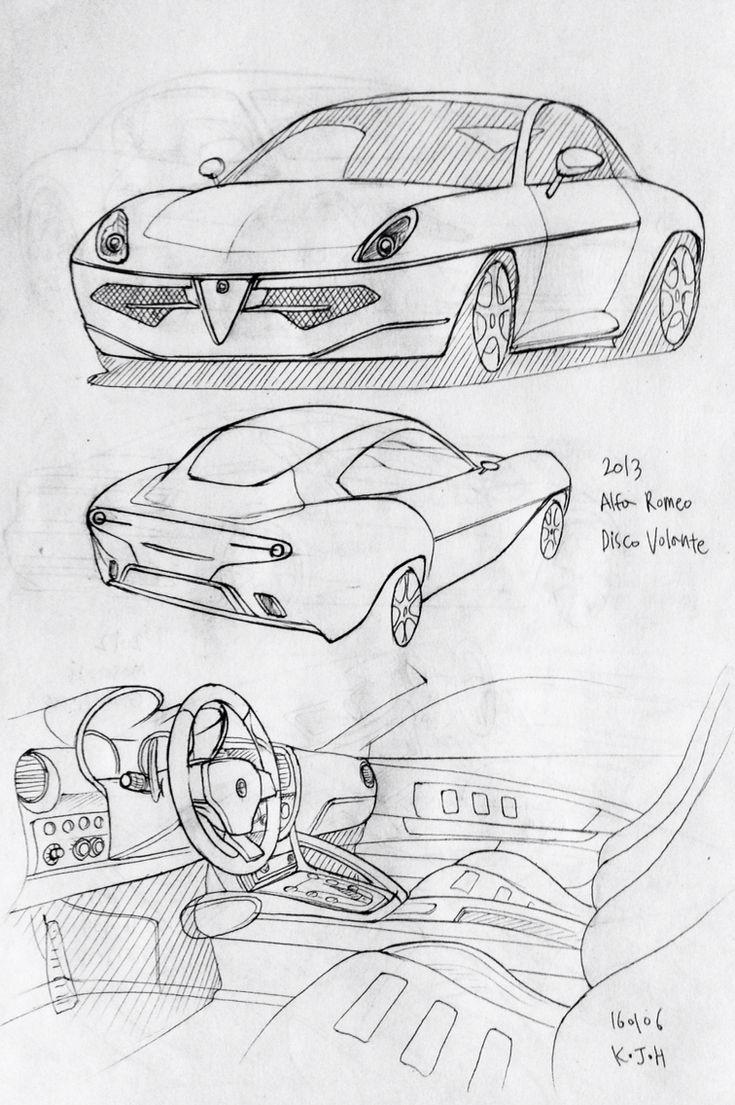 Car drawing 2013 Alfa Romeo Disco Volante Prisma on paper Kim