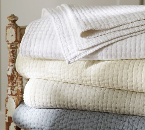 Pick-Stitch Quilt & Sham   Pottery Barn just got the white quilt and king shams for the guest bedroom.  Taupe quilt and shams in Master bedroom
