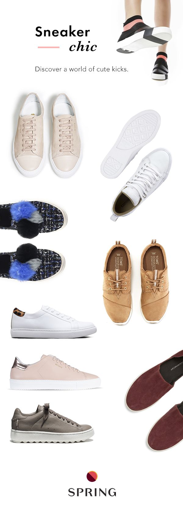 Spring has a premium selection of women's sneakers in all shapes and styles. With over 1,250 brands, you can always find the perfect new pair. Plus free shipping + free returns.