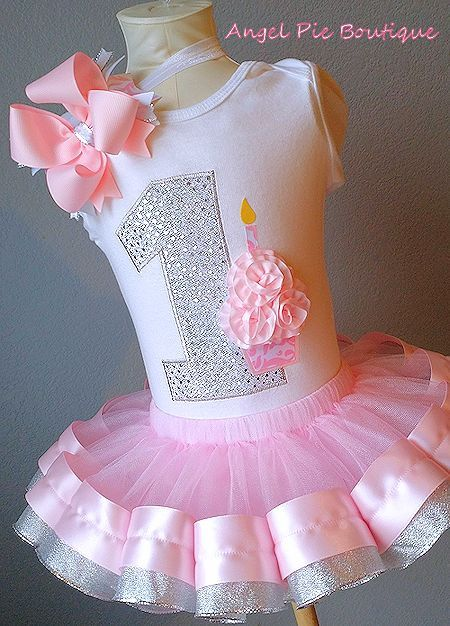 Baby Girl's First Birthday Outfit - No. 1 Applique w/ cupcake. Ribbon Trim Tutu and Hair Bow on Band - Light Pink & Silver on Etsy, $65.00