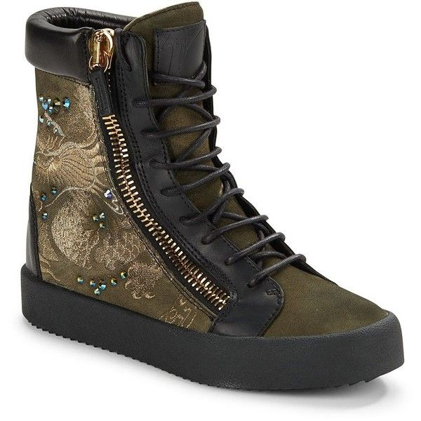 Giuseppe Zanotti Dragon Embroidered Boots ($525) ❤ liked on Polyvore featuring men's fashion, men's shoes, men's boots, khaki, mens studded boots, mens shoes, mens dress shoes, mens studded shoes and mens dress shoes boots