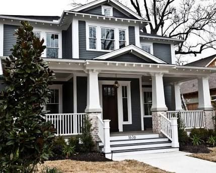Love this dark colour exterior with white Trim craftsman blue home -