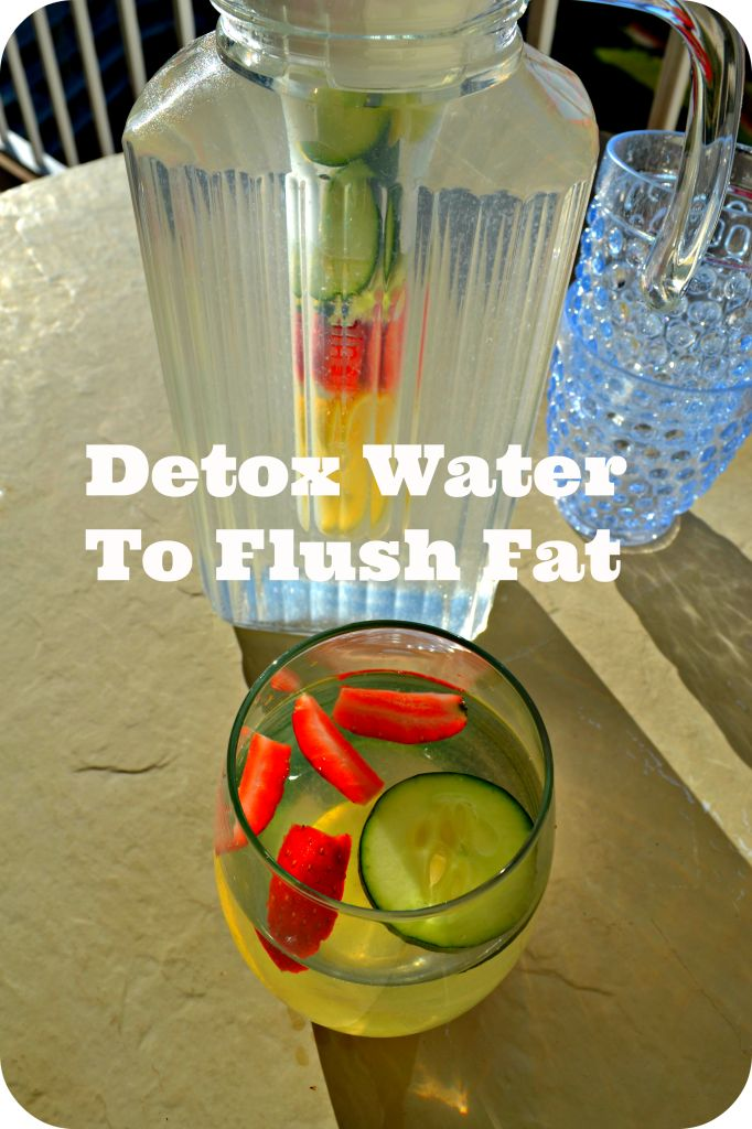 Detox Water Drink To Flush Fat and to help relieve bloating. Flush your system with water, lemon, cucumbers and strawberries. skinnyover40.com