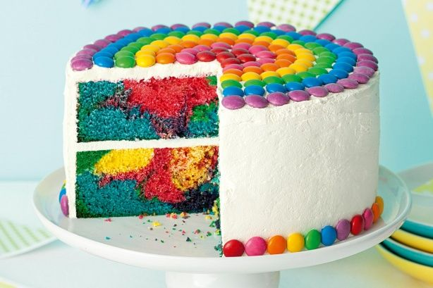 Bubblegum Rainbow Cake-----This bright-as-a-button cake will bring a smile to anyone's face. Strawberry and banana flavouring was used to approximate bubblegum. You can leave them out if you prefer. Preparation: 0:45, Cook: 1:10, Ingredients: 15, Difficulty: Capable Cooks, Servings: 24.