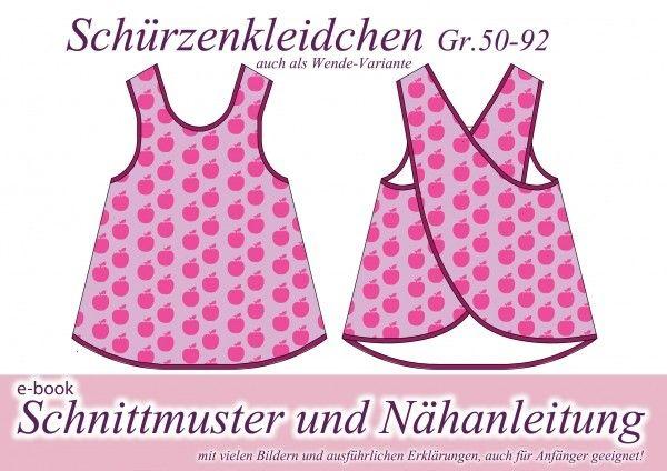 Näh Deiner Kleinen dieses Kinderkleid // Schürzen-Kleid. Auch als Wendekleid nähbar. Schnapp Dir die Nähmaschine und den Stoff und leg gleich los.