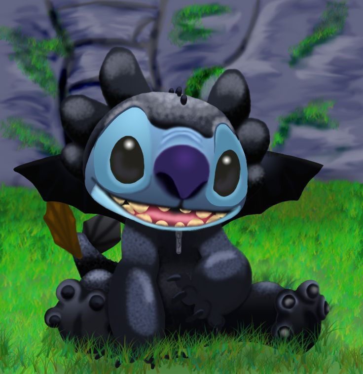Stitch as Toothless<-- my two favorite Disney creatures!!