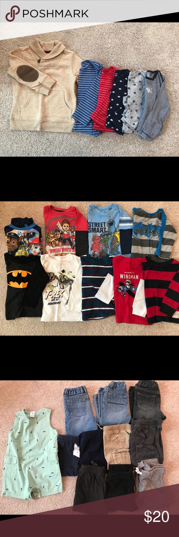 Toddler Boys Clothes- shorts and pants Size: 18-24 Months   26 pieces total: 13 for$20, All 26 for $40  Photo1: All Carter's 24 Months Onesies with snaps, except the first sweater, Brand: Crazy 8, 18-24 Months  Photo 2: All long sleeve shirts. Navy blue Paw Patrol- Sweat Suit Set- long sleeve shirt and pants.  All 18 Months. T-Rex & Wingman shirts are 24 Months.  Photo 3:  Mint Green Romper- 18 Months  Row 1: Jean Shorts, and 2 pair jeans- 18-24 months Row 2:  18&24 month pants Row: 3 Fleece…