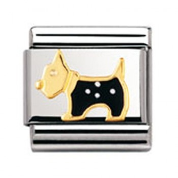 How cute is this Nomination dog charm?! We love it! This genuine classic nomination charm is made from stainless steel and 18k gold