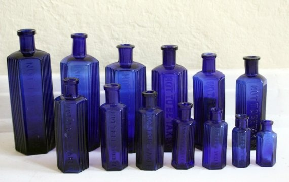 Deep blue glass bottles