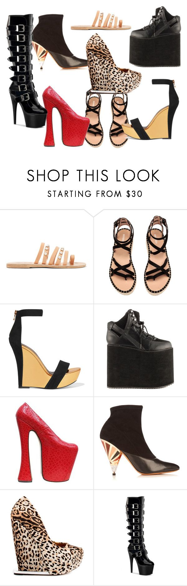 """Shoes"" by praiseoluwole on Polyvore featuring Ancient Greek Sandals, Balmain, Y.R.U., Vivienne Westwood, Givenchy and L.A.M.B."