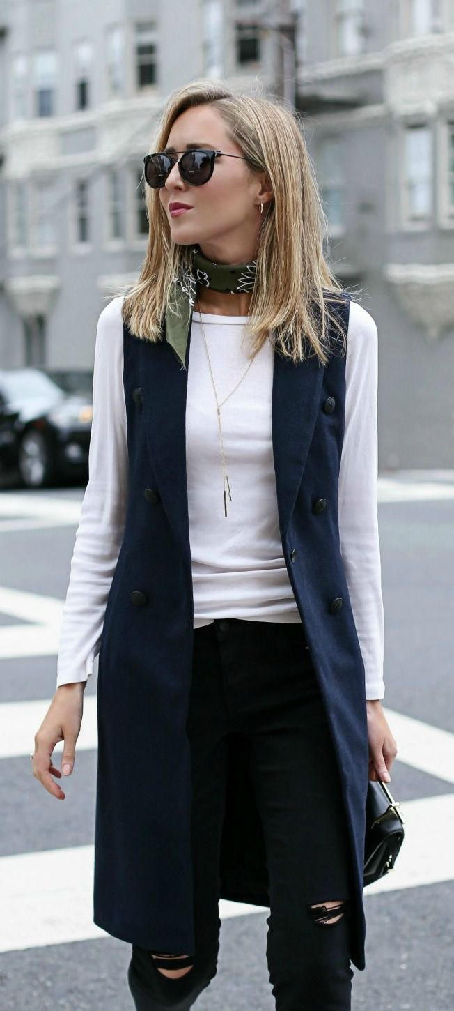 navy double-breasted vest, black distressed high waisted skinny jeans, white long sleeve tee, black handbag, olive bandana neck scarf, gold lariat necklace + sunglasses {rag & bone, bp., caslon, m2malletier}
