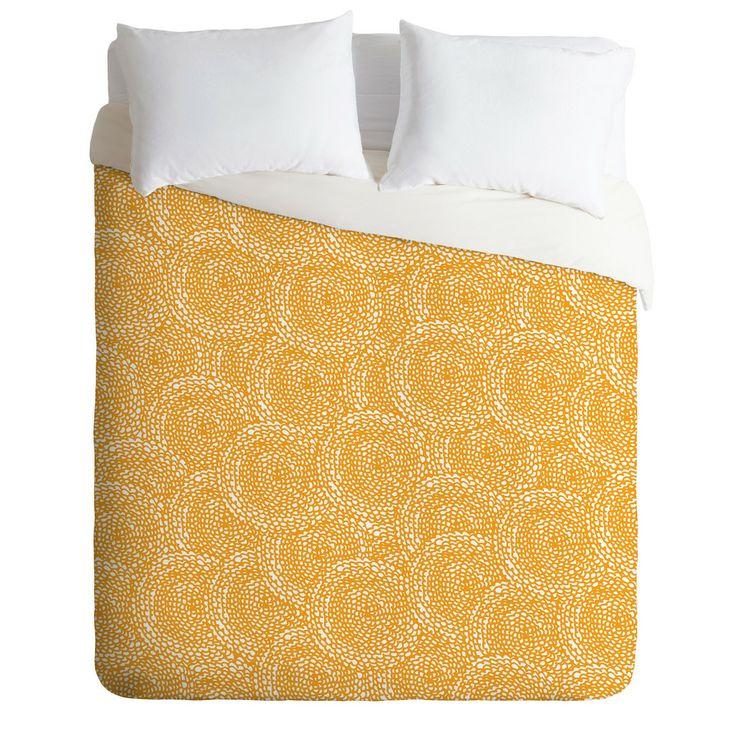 Julia Da Rocha Dahlias Yellow Duvet Cover | DENY Designs Home Accessories