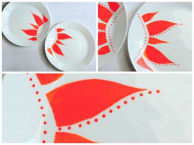 arsita! set farfurii pentru cina pictate manual. hot! dinner hand painted plate by anaisme (orange)