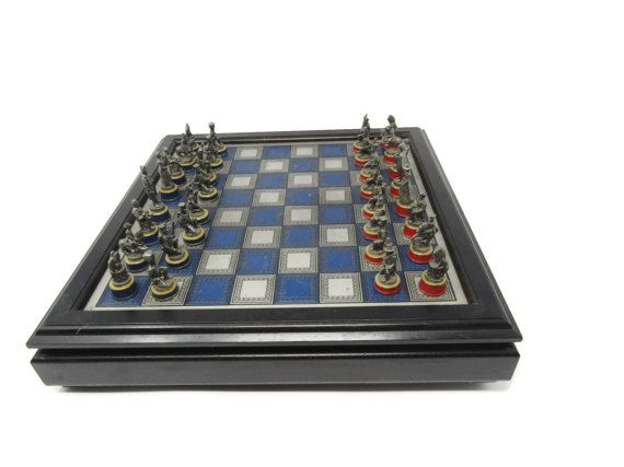 Rare #Battle of Waterloo Chess Set / Franklin Mint 1984 The Waterloo Museum / Collectors Chess Set / Gift for Dad / #Library Decor by DerBayzVintage https://www.etsy.com/listing/511787011/rare-battle-of-waterloo-chess-set?ref=rss