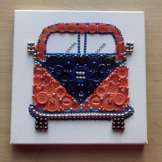 Campervan Button Art Canvas.  Gift.  Fathers by ButtonCraftIOM