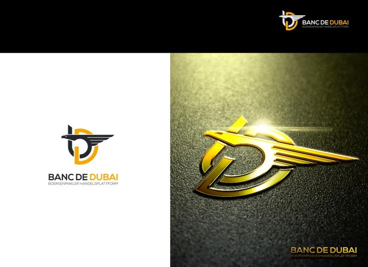 Logo proposal for Banc de Dubai. The company want to have an eagle inside of the design, since this is a landmark of Dubai